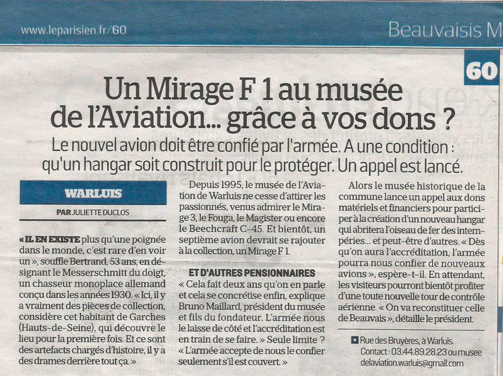 Un Mirage F1 au musée de l'Aviation... grâce à vos dons ?